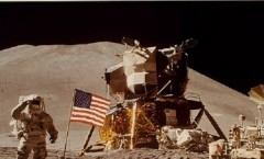 James Irwin, Lander, and Flag on Moon